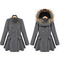 Women's Double-breasted Wool Blends Detachable Hooded Coat