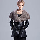 Long Sleeve Mink Fur Shawl Collar Lambskin Leather Casual/Party Coat