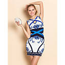 TS Blue And White Porcelain Design Jacquard Slim Bodycon Bandage Dress