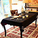Swan Pattern Black Table Cloth with Diamond