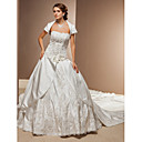 Ball Gown Sweetheart Satin Cathedral Train Wedding Dress With Wrap