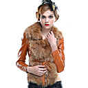 Long Sleeve Fox Fur Shawl Collar Lambskin Leather Casual/Office Jacket (More Colors)