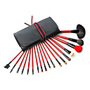 18pcs Animal Hair Makeup Brushes Set Black&Red Bag Red Handl