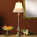 100W Contemporary Table Light with Fabric Shade and Glass Globe Decor Lampstand