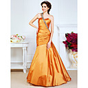 Vintage Trumpet/Mermaid Sweetheart One Shoulder Floor-length Taffeta Evening Dresses