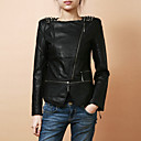 Stylish Long Sleeve Collarless PU With Zipper Party/Office Jacket