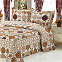 3 PCS Circle Floral Washed Cotton Quilt Set