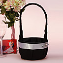 Flower Basket In Black Satin With With White Sash
