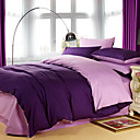 4PCS Viola Double Face Purple Cotton Duvet Cover Set