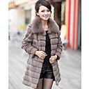 Elegante manga larga con cuello de piel de zorro noche Rabbit Fur Coat (ms colores)
