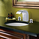 Chrome Finish Contemporary Style Widespread Stainless Steel Bathroom Sink Faucets