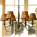 60W Retro Chandelier with 6 Lights and Cane Shade