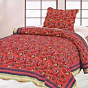 3PCS Car Pattern Red Cotton Queen Size Quilt Set