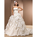Ball Gown Spaghetti Straps Taffeta Chapel Train Wedding Dress