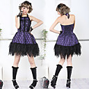 Sleeveless Short Black Lace Cotton Punk Style Gothic Lolita Kleid