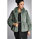 Long Sleeve Fox Fur Turndown Collar Rabbit Fur Casual/Party Jacket