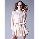 TS Lace Collar Three Quarters Sleeve Blouse With Peplum