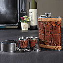 Marrone 8-oz Flask In confezione regalo (5 Pezzi)