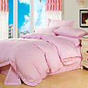 4PCS Heather Pink Solid Cotton Duvet Cover Set