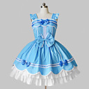 Sleeveless Short Sky Blue and White Cotton Country Lolita Dress