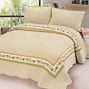 3PCS Yellow Plaid Cotton Queen Size Quilt Set