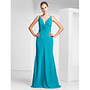 Trumpet/Mermaid V-neck Floor-length Chiffon Evening Dress