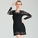 Bioplazm Sheer Lace Chiffon Long Sleeve Dress(Black)