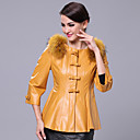 3/4 Sleeve Collarless Lambskin Leather Casual/Office Jacket With Raccoon Fur Trim (More Colors)