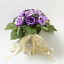 Pretty Hand-tied Purple Satin Rose Wedding Bridal Bouquet