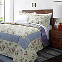 3PCS Megan Beige Floral Cotton Queen Quilt Set