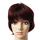 100% Human Hair Short purple Straight Hair Wig