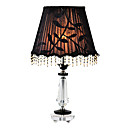 40W Retro Table Light with Crystal Lamp Pole and Fabric Pattern Shade