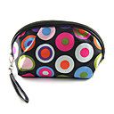 Cute Mini Make up/Cosmetic Bag with Mirror Black and Colorful Circles(16x12x5cm)