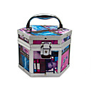 Aluminum Alloy Lockable Cosmetic Box With Owen Graphic Makeup Case 17.5*15.5*13cm
