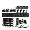8 Channel One-Touch Online CCTV DVR Systeem (4 Outdoor Waterdichte Camera & 4 Indoor Dome Camera)