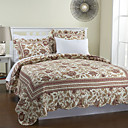 3PCS Beige Floral Cotton Königin Quilt Set