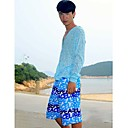 Men's Beach Casual Blue Graffiti Trunks