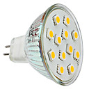 MR16 1.5W 12x5050SMD 150LM 2800-3300K luce bianca calda a LED Lampadina Spot (12V)