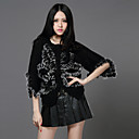 3/4 Sleeve Collarless Sweater/Rabbit Fur Casual/Party Jacket(More Colors)
