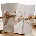 Vintage Embossed Tri-fold Wedding Invitation With Ribbon Bow (Set of 50)
