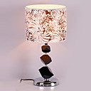 40W Contemporary Table Light with Crystal Lamp Pole and Flower Printed Fabric Shade in Polished Chrome