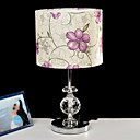 40W Modern Table Light with Crystal Lamp Pole and Floral Printed Fabric Shade