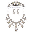 Gorgeous Imitation Pearl Alloy Wedding Bridal Jewelry Set Including Necklace, Earrings And Tiara