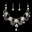 Beautiful Rhinestone/Imitation Pearl Bridal Jewelry Set – 17 Inch Necklace With Earrings