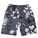 Mens Beach Casual Black And White Ash Flower Pattern Trunks