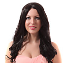 Lace Front Black Long Wavy Mixed Hair Wigs with Twenty-percent Human Hair