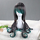 Peafowl Style Gray and Green Gradient 75-80cm Gothic Lolita Wig