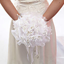 Pretty Hand-tied Satin Rose Wedding Bridal Bouquet With Faux Pearl(More Colors)
