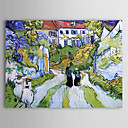 Famous Oil Painting A-village-street-and-steps-in-auvers-with-figures by Van Gogh