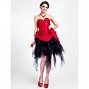 Ball Gown Sweetheart asymmetrische taft en tule cocktail jurk